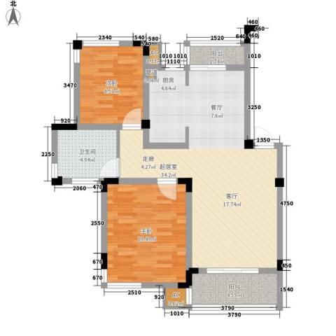 蓝色湖畔2室0厅1卫0厨78.00㎡户型图