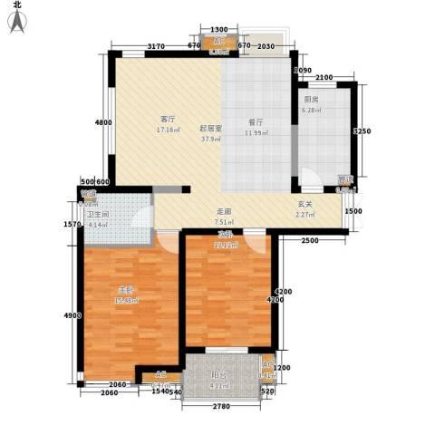 方兴社区2室0厅1卫1厨81.67㎡户型图