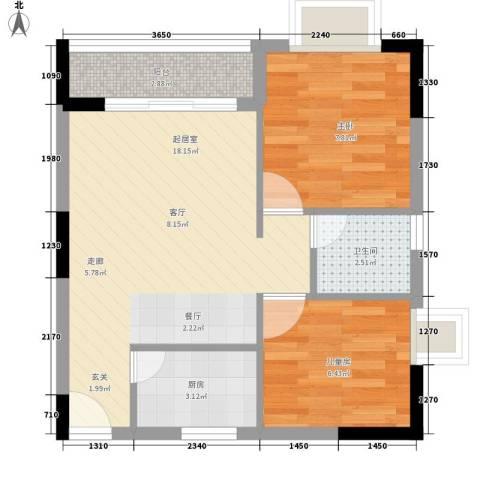苹果园2室0厅1卫1厨59.00㎡户型图