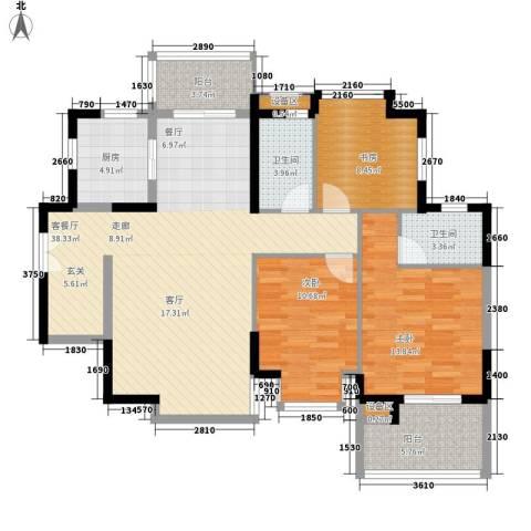 城南家园3室1厅2卫1厨138.00㎡户型图