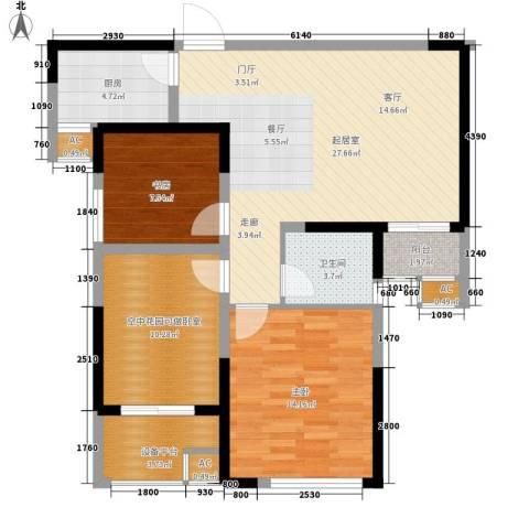经典华城一期梧桐语2室0厅1卫1厨87.00㎡户型图