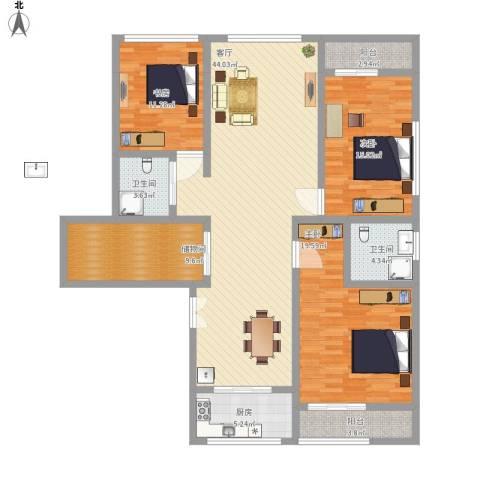 草场门大街123号3室1厅2卫1厨172.00㎡户型图