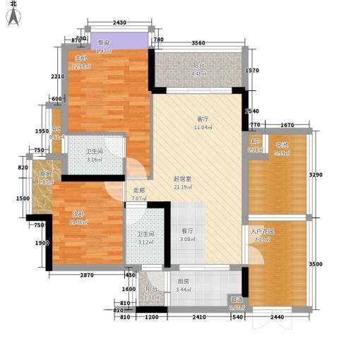 鸿洲佳园2室0厅2卫1厨109.00㎡户型图