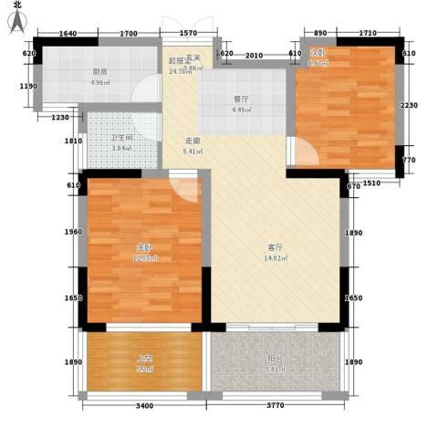 博威香槟小镇2室0厅1卫1厨76.00㎡户型图