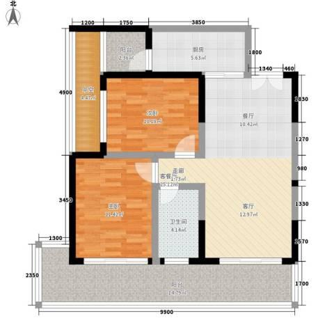 博鳌印象2室1厅1卫1厨98.00㎡户型图