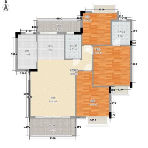 南山・苏迪亚诺3室0厅2卫1厨124.00㎡户型图