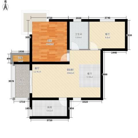 水岸丽景1室2厅1卫1厨77.00㎡户型图