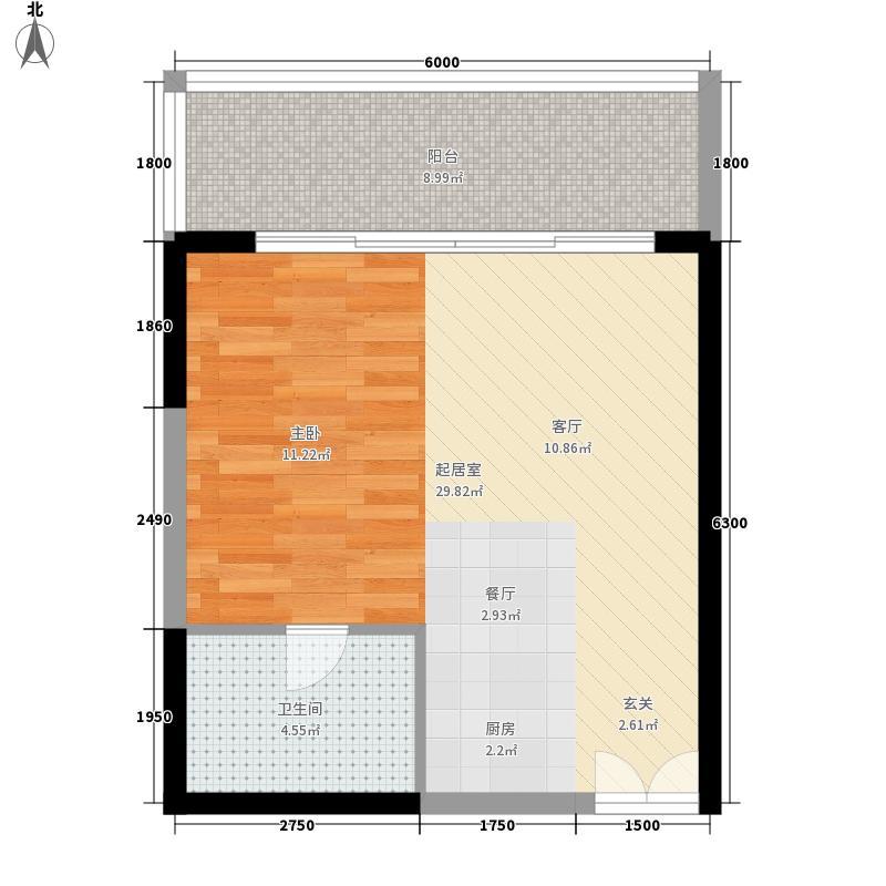 博鳌印象57.28㎡博鳌印象户型图7号楼A3户型1室1厅1卫1厨户型1室1厅1卫1厨