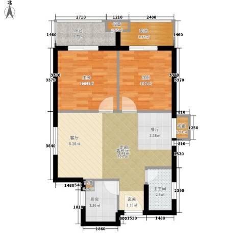 祥瑞东方城2室1厅1卫1厨71.00㎡户型图