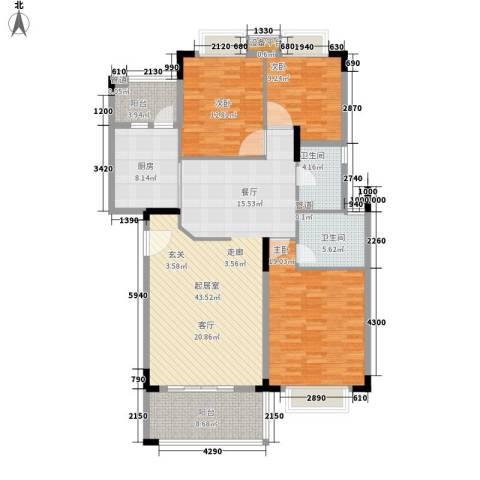 南国奥园洛杉矶区3室0厅2卫1厨130.00㎡户型图
