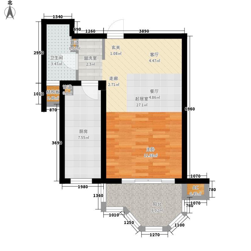 梅里香舍二期51.97㎡梅里香舍二期户型图M户型1室1厅1卫1厨户型1室1厅1卫1厨