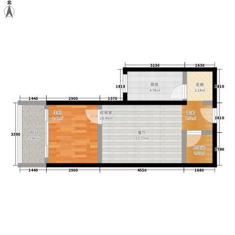 澳城大厦1室0厅1卫1厨57.00㎡户型图