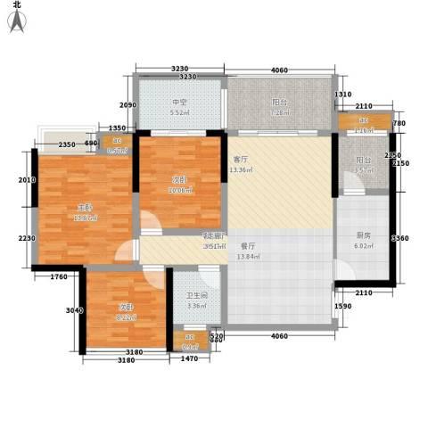 远大都市风景3室1厅1卫1厨90.41㎡户型图