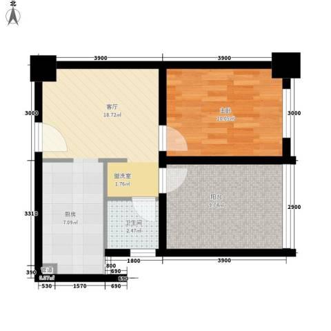 经典华城一期梧桐语1室1厅1卫0厨69.00㎡户型图