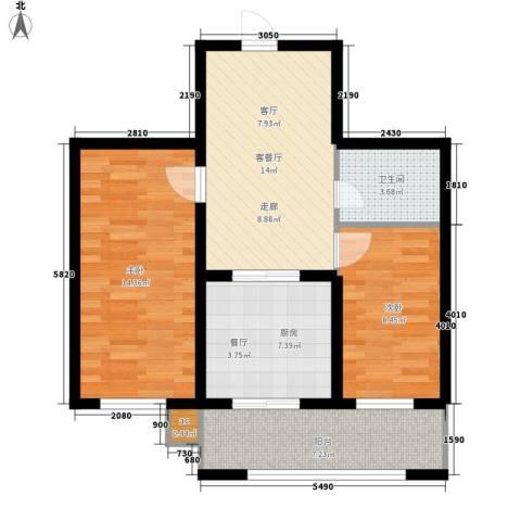 东城花园2室1厅1卫1厨64.38㎡户型图