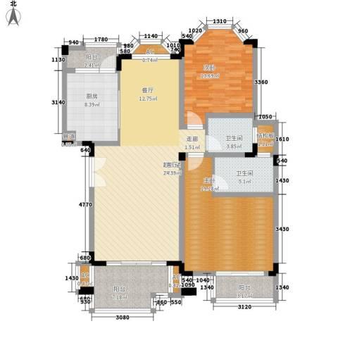 银丽高尔夫别墅2室0厅2卫1厨122.00㎡户型图