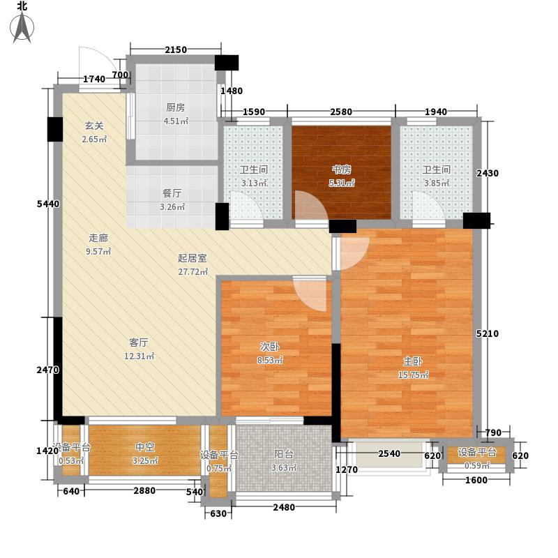 中国铁建国际花园户型图A2户型 3室2厅2卫1厨