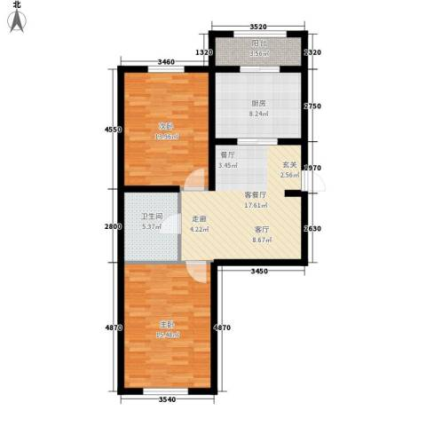 东城花园2室1厅1卫1厨73.25㎡户型图