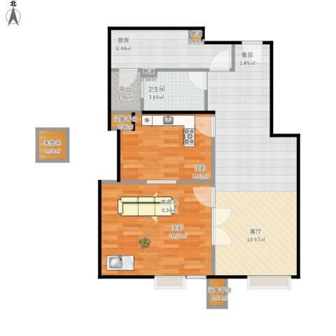 北京北2室1厅1卫1厨90.00㎡户型图