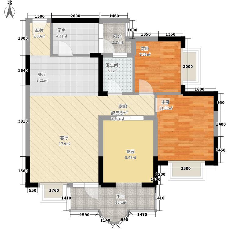 英伦1891.71㎡D3户型2室2厅1卫1厨