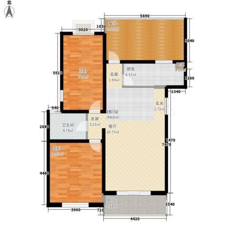BOBO自由城一期2室0厅1卫1厨103.00㎡户型图