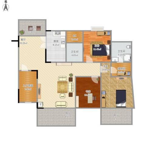 劲力五星城自由地3室1厅2卫1厨172.00㎡户型图