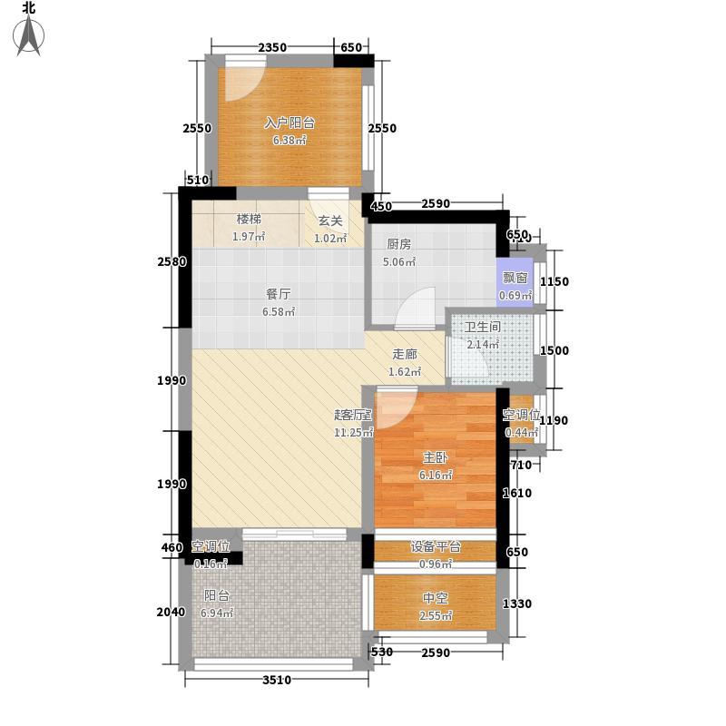 万科金色沁园户型图1栋A户型 2室2厅2卫1厨