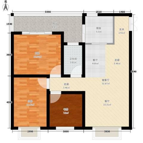 汇泽・蓝海湾3室1厅1卫1厨109.00㎡户型图