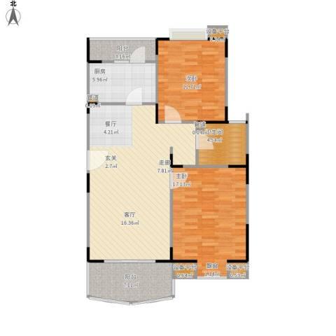 北桥春天2室1厅1卫1厨112.00㎡户型图