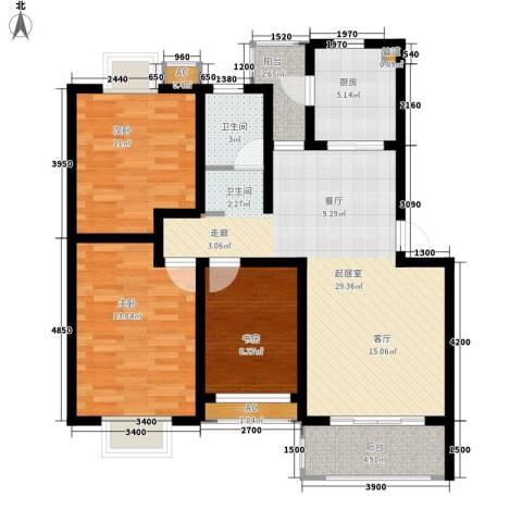 方兴社区3室0厅1卫1厨91.00㎡户型图