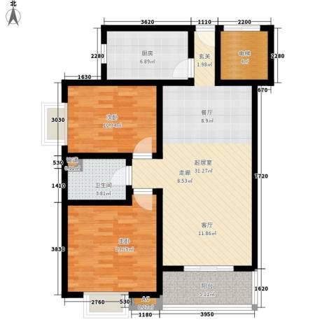 凯荣国际花园2室0厅1卫1厨88.00㎡户型图