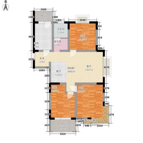 恒信・缔景名苑3室1厅1卫1厨109.00㎡户型图