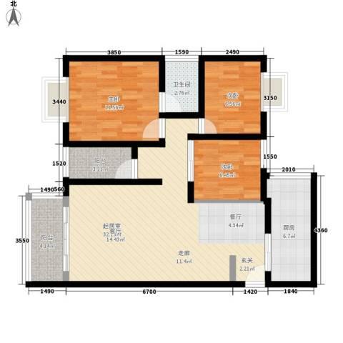 龙腾花园3室0厅1卫1厨86.00㎡户型图
