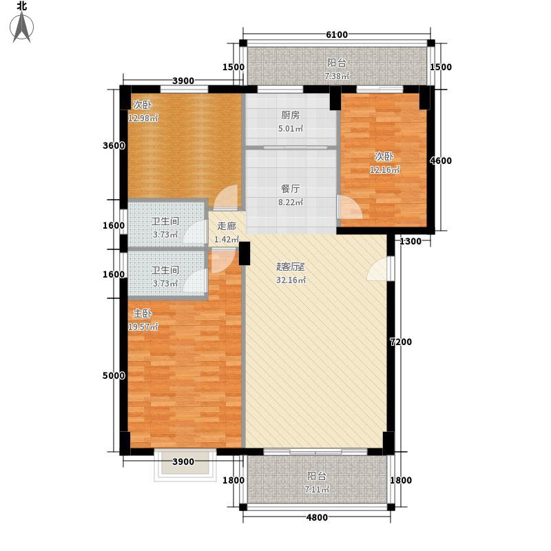 聚福雅居128.35㎡聚福雅居E栋01、04单元户型3室2厅2卫1厨128.35㎡户型3室2厅2卫1厨