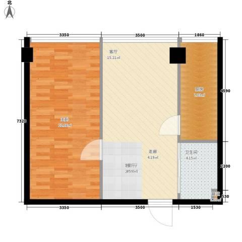 宜家国际公寓1室1厅1卫1厨64.00㎡户型图