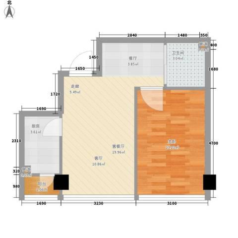 宜家国际公寓1室1厅1卫1厨56.00㎡户型图