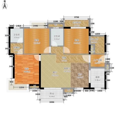 港航华庭1室1厅2卫1厨124.83㎡户型图