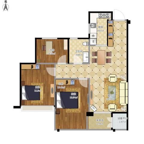 曙光之城3室1厅1卫1厨99.00㎡户型图