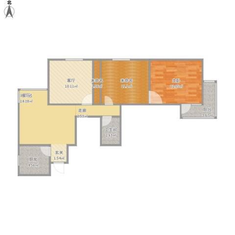 南新园1室1厅1卫1厨87.00㎡户型图