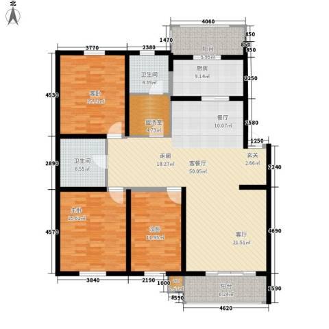 东城花园3室1厅2卫1厨145.24㎡户型图