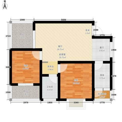 汇泽・蓝海湾2室0厅1卫1厨83.00㎡户型图