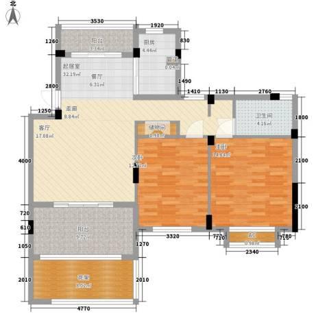 新宇拉菲公馆2室0厅1卫1厨91.42㎡户型图