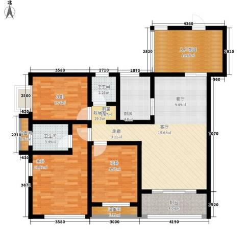 敬业乐府3室0厅2卫1厨106.12㎡户型图