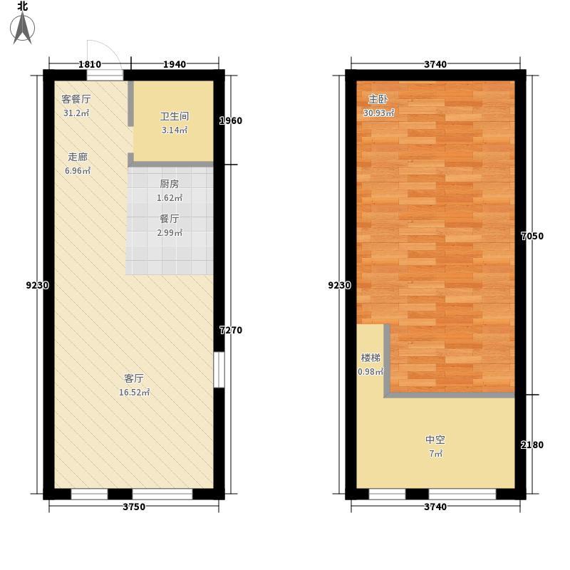 星城国际60.00㎡户型图D(跃层)户型1室1厅1卫