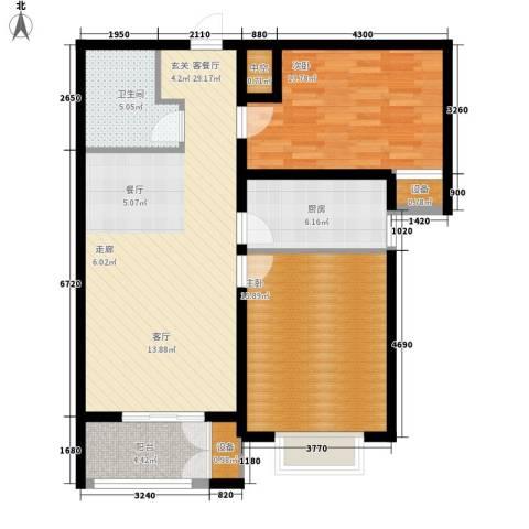 水岸丽景2室1厅1卫1厨88.00㎡户型图