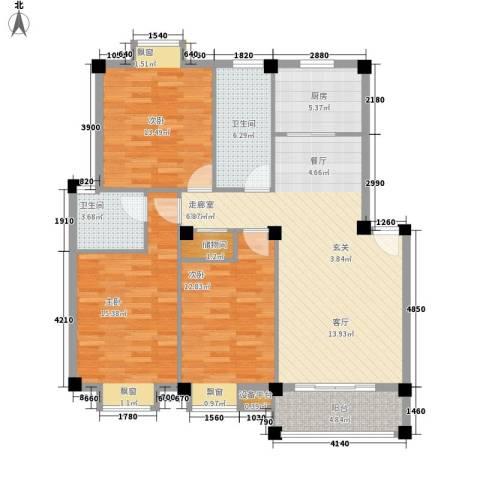 江枫园别墅3室0厅2卫1厨130.00㎡户型图