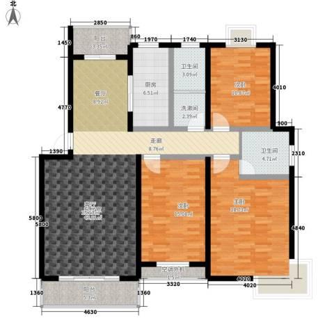 金桥慧景3室0厅2卫1厨129.00㎡户型图