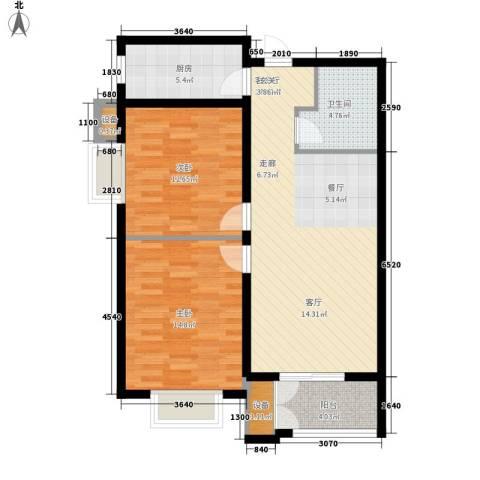 水岸丽景2室1厅1卫1厨85.00㎡户型图