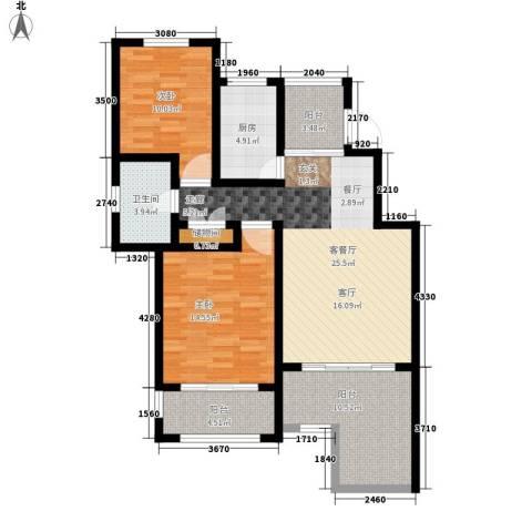 星河蓝湾2室1厅1卫1厨92.00㎡户型图