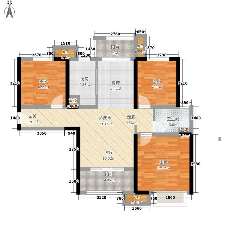 武汉万锦江城91.00㎡武汉万锦江城户型图B1户型3室2厅1卫1厨户型3室2厅1卫1厨